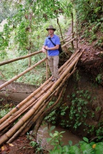 Sean on a bamboo bridge